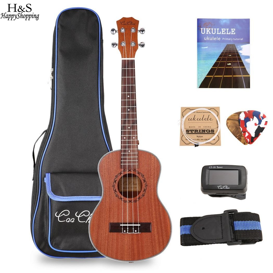 26 inch Mahogany Soprano Ukulele Combo Bass Guitar Guitarra Musical Instrument Set For Beginner With Kit Strap Bag Picks String 26 inchtenor ukulele guitar handcraft made of mahogany samll stringed guitarra ukelele hawaii uke musical instrument free bag