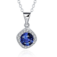 Фотография 2015 new arrived 925 sterling silver jewelry square round with dark blue stone pendant  necklace for women jewerly wholesale