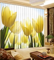 yellow flowr rose curtains 3D Curtain Luxury Blackout Window Curtain Living Room Blackout curtain