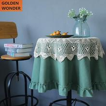 Pastoral Round Table Cloth Cover Lace Coffee Tea Cotton Lien Green Decoration Chinese Made