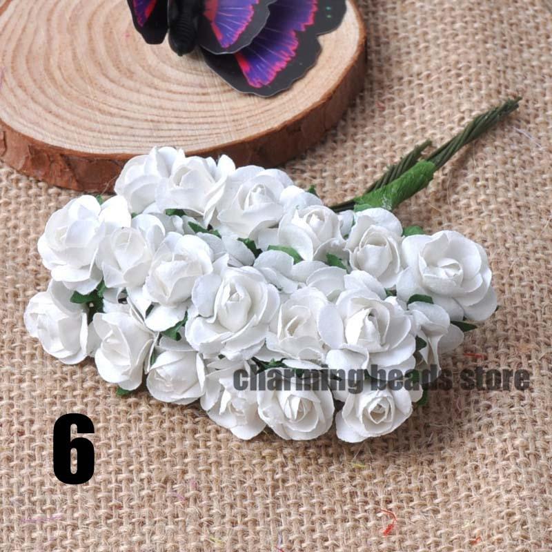 24 шт. 15 мм мини искусственный Бумага розы букет Свадебный декор Скрапбукинг DIY cp0022x - Цвет: 6