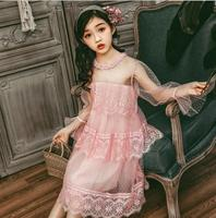 Bridesmaid Dresses for Girls 10 years Perform Dress Spring Summer 2019 Princess Lace Dress Little Girl Teenage Girl Party Dress