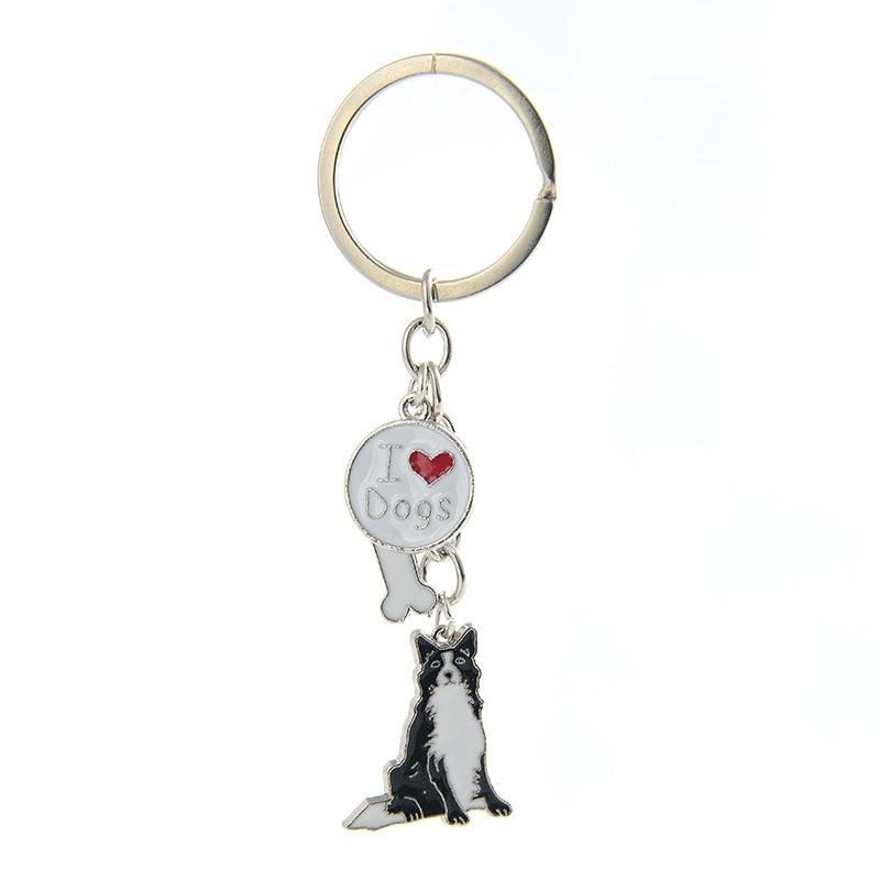 Border Collie Pendant Key Chains For Women Men Silver Color Metal Zinc Alloy Pet Dog Bag Charm Car Keychain Key Ring Holder 2019