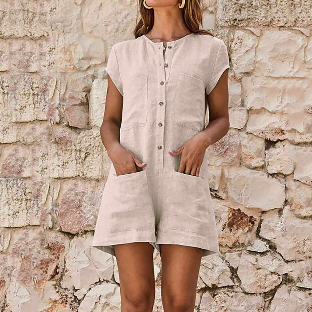 2019 Summer Women Short Jumpsuit Solid Linen Short Sleeve Casual Romper V-neck Pocket Button Ladies Jumpsuits Playsuit