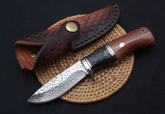Trskt Collection knife Damascus Fixed Blade Knife Small Hunting Knives Outdoor Camping Tool Wood Handle With Leather sheath damascus steel blade ebony handle outdoor camping knife portable survival hunting knives with leather sheath knives fixed blade