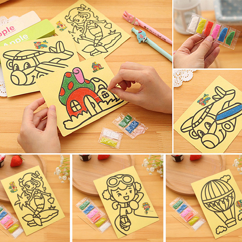 20 pcs lot children kids drawing toys sand painting pictures kid diy crafts education toy