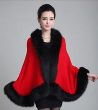British Fashion Women Wool Overcoat Ponchos Faux Fox Winter Autumn Cape Poncho Cloak Pea Coat Outerwear Fox Fur Collar 10 Colors