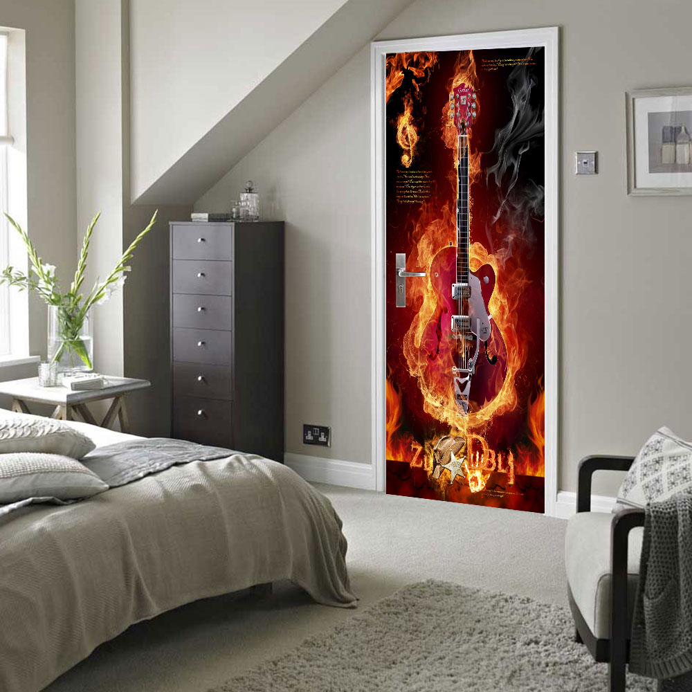 Free Shipping Home Decorators: Free Shipping 3D Creative Fire Guitar Door Wall Stickers