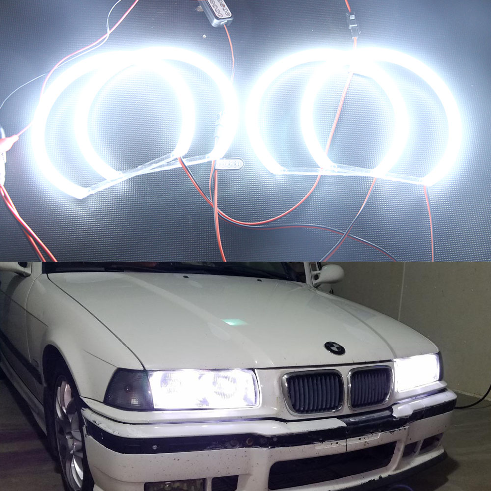 Fsylx 20set White Yellow 131mm Smd Creesled Angel Eyes For Bmw E46 E39 Headlight Corner Signal Socketwiring Connectorbulb 4x131mm Car Halo Rings Headlights Canbus E46e36
