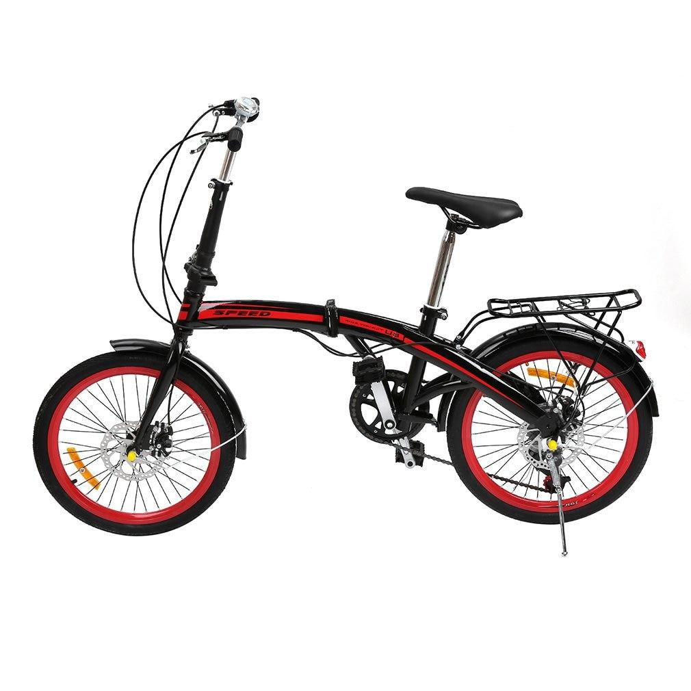 20 Inch 6 Variable Speeds V Brake Folding Bikes Foldable Road Bicycle Shock Absorption Bike For Men And Women gbs ultralight foldable bicycle brake handle aluminum 7075 cnc folding bike v brake lever for dahon sp8 sp18 bike accessory