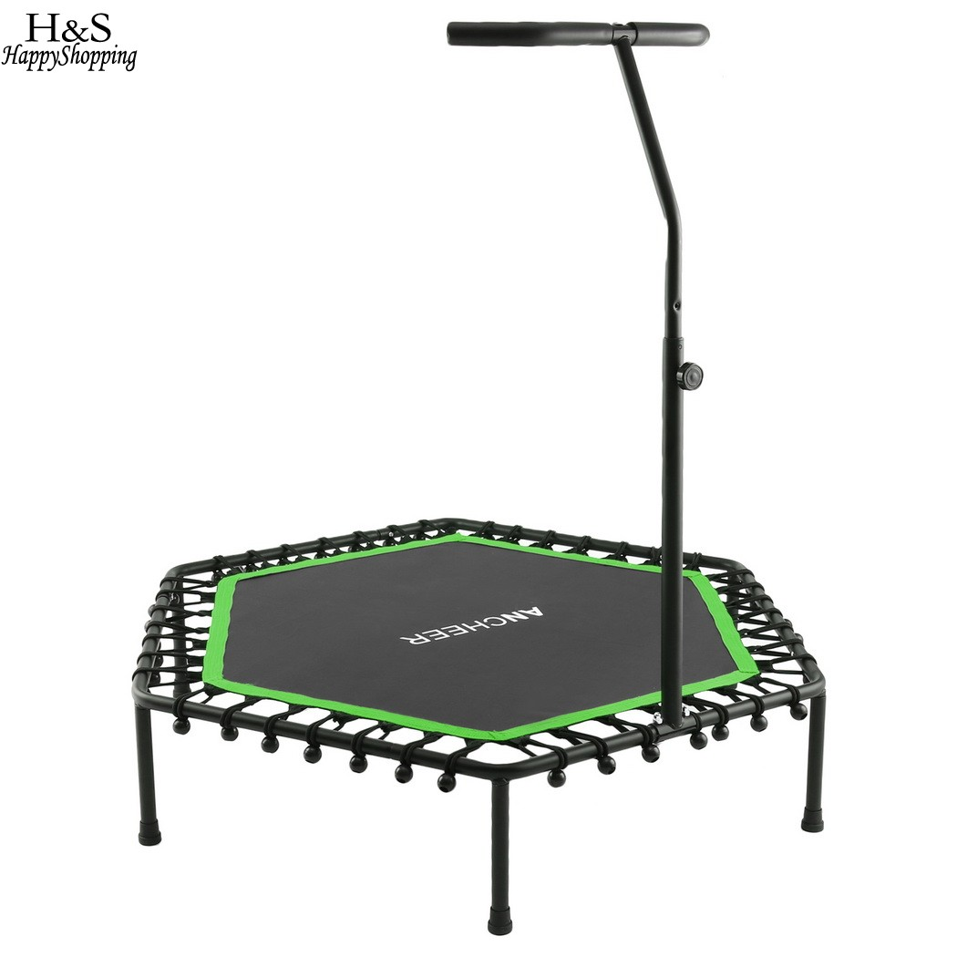 Bungee-Rope-System Fitness Trampoline with Adjustable Handlebar Rust-resistant Rugged Frame Hexagon Rebounding Surface цена 2017
