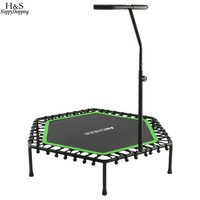 Bungee Rope System Fitness Trampoline with Adjustable Handlebar Rust resistant Rugged Frame Hexagon Rebounding Surface