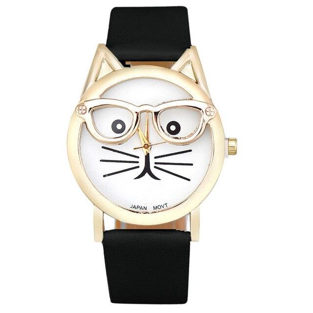 d7430fce515 Vogue Bonito Gato Dos Desenhos Animados Do Relógio Das Mulheres Dos Homens  de Couro PU Relógio