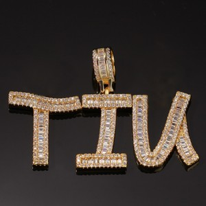 Image 3 - Uwin Cutsom Baguette Letters Name Necklace & Pendant Bling Bling Full Iced Out LuxuryZirconia Tennis Chain HipHop Jewelry