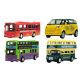 4 pcs/set Mini Car Model Toys Alloy Metal Bus Different Vehicle Types Model Toys With Doors/Music/Light/Pull Back Function