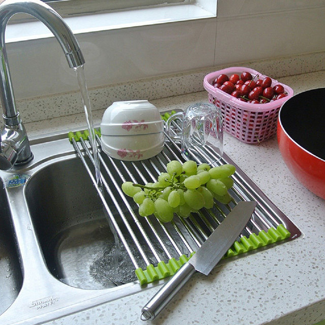 Folding Over Strainer Multipurpose Drainer Tray Sink Roll Up Dish ...