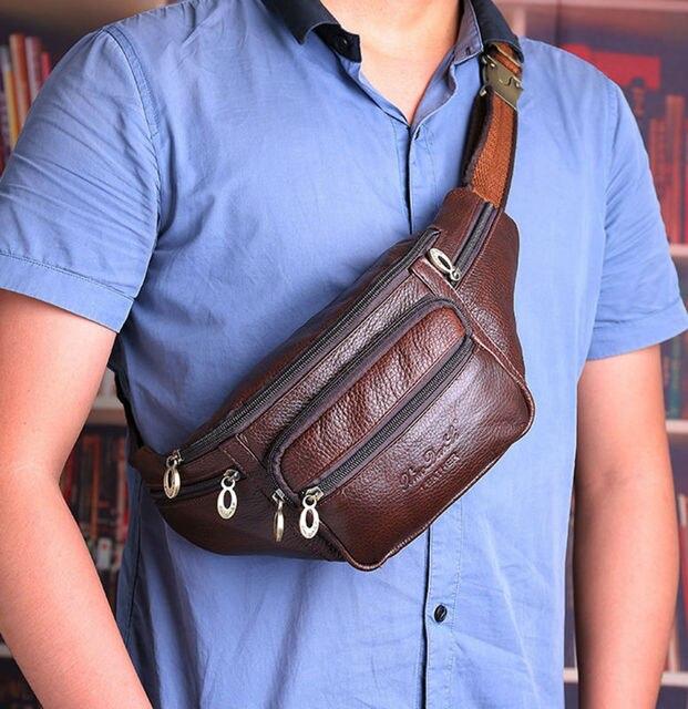 72590a4898b8 Men Genuine Leather Vintage Travel Messenger Shoulder Sling Chest Hip Bum  Belt Fanny Pack Waist Bag