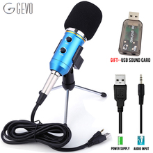 GEVO MK F200FL Computer Microphone Condenser Wired 3.5mm Cable Professional USB Mic For Karaoke PC Studio Recording With Tripod