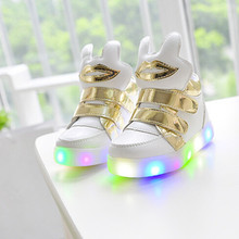 2016 new fashion children shoes boys and girls shoes lips LED lighted rabbit ears baby shoes