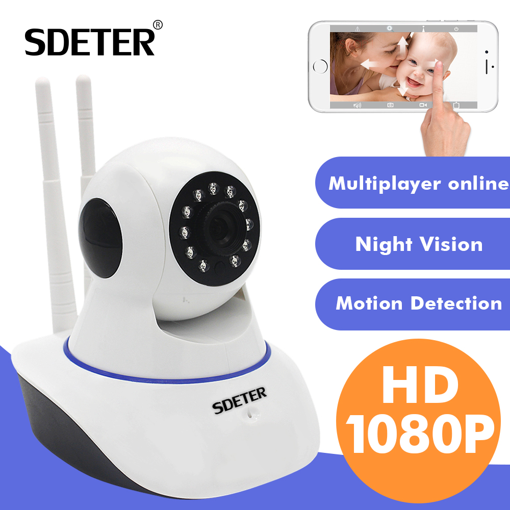 SDETER 1080P Wireless Home Security IP Camera Network CCTV Camera Wifi Video Surveillance 720P Night Vision Two Way Audio Camera