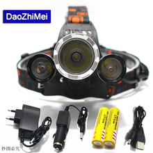 2018 XML T6 2R5 LED Headlight 8000Lm Rechargeable LED Headlamp T6 Flashlight Head lamp Torch with AC Car Charger 18650 Battery