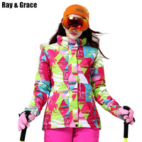 RAY GRACE Snow Jacket Women Winter Outdoor Coat Waterproof Windproof Breathable Sports Thermal Parka Hiking Ski Snowboarding