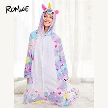 ROMWE Allover Stars Plush Cartoon Onesie Hooded Nightgowns Winter Ladies Galaxy Zipper Button Multicolor Sleepwear