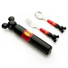 3pc / set barnrätter rostfritt stål gaffel sked bärbar låda set tecknad baby mat tillskott träning bordsduk barn verktyg