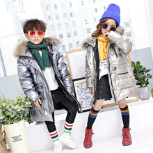 2018 New Children High-end Down Jacket Winter 95% White Duck Down Clothes Hoodie Big Nature Fur Overcoat Kids Thicken Snowsuit