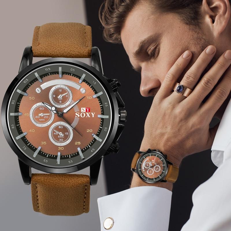 Fashion Pu Leather Watches Mens Analog Military Sports SOXY Watch Quartz Male Wristwatch Hour Relogio Masculino Man Clock Saati