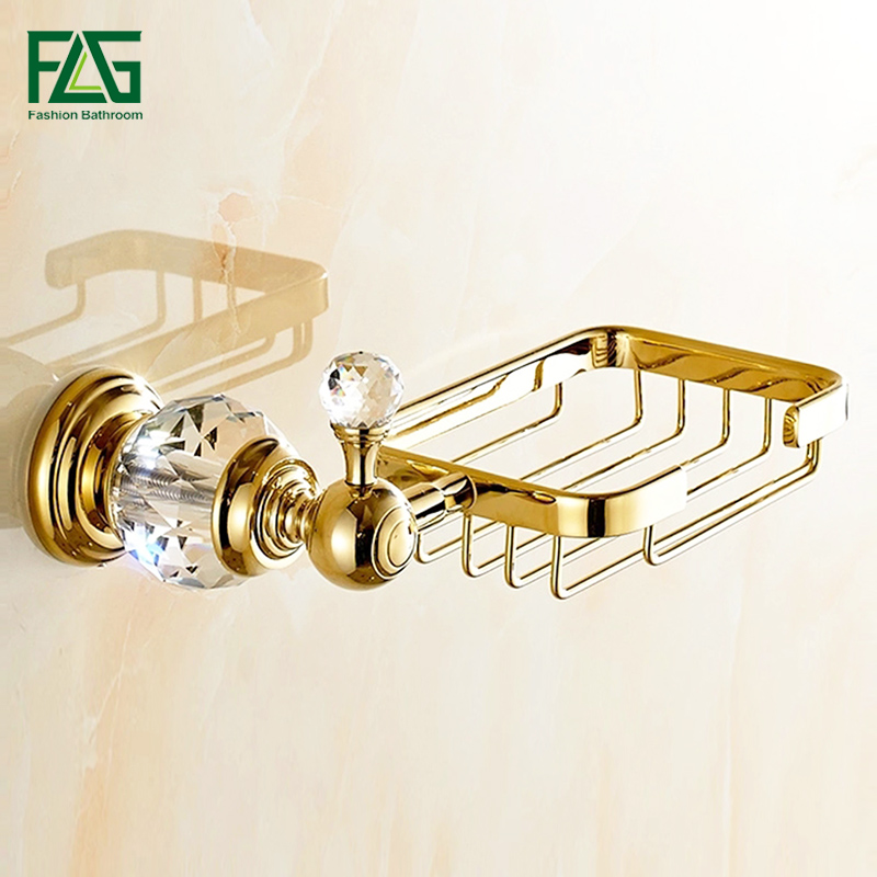 FLG Soap Dishes Brass Gold Soap Basket Wall Mounted Crystal Soap Holder Gold Bathroom Accessories Home Decoration Soap Box