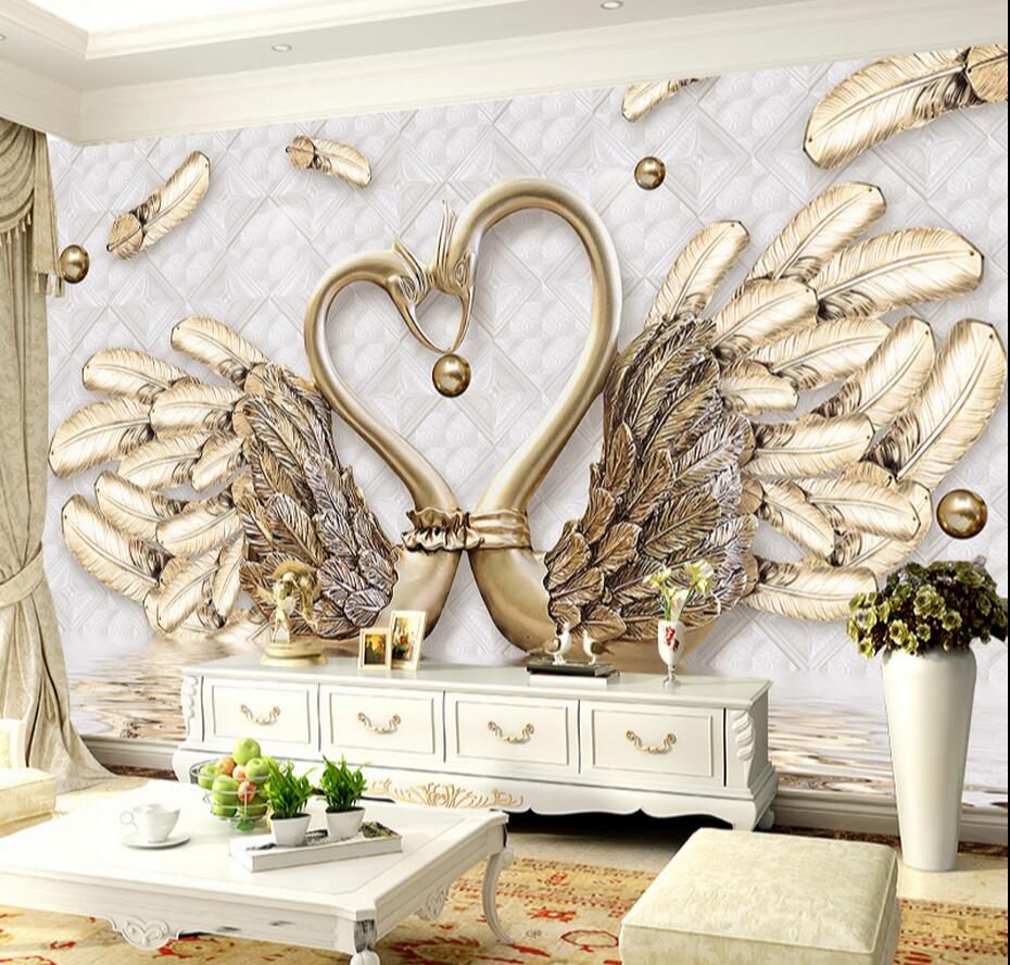 3D Embossed Gold Swan Abstract Photo Wallpaper Large Mural ...
