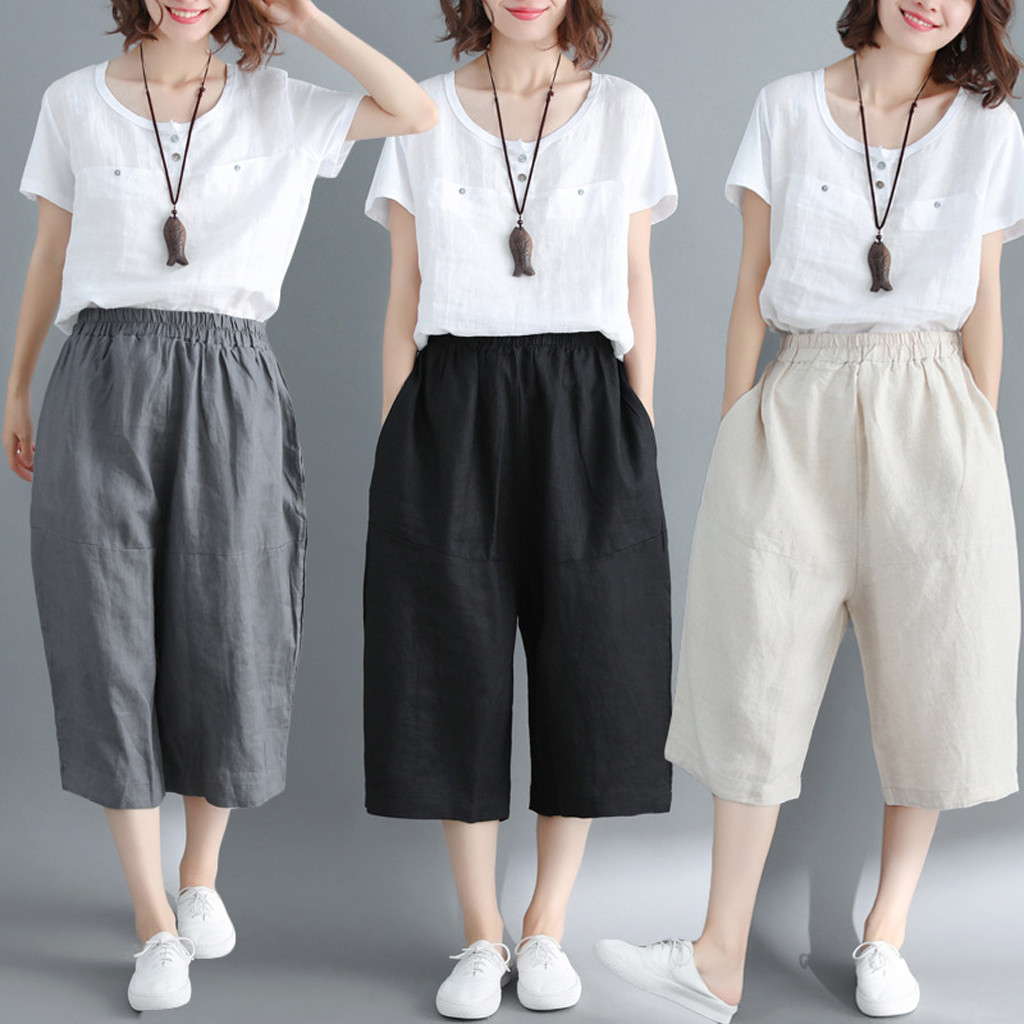 Color Harajuku  Trousers Female  Harem  Candy Fashion Cotton And Linen Loose Casual Long Trousers Y430