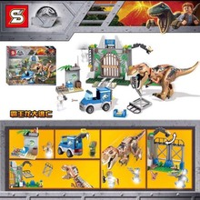 legoings Jurassic World series T. rex Breakout Model Building Block Brick Toy For Children Birthday Gift compatible With 10758