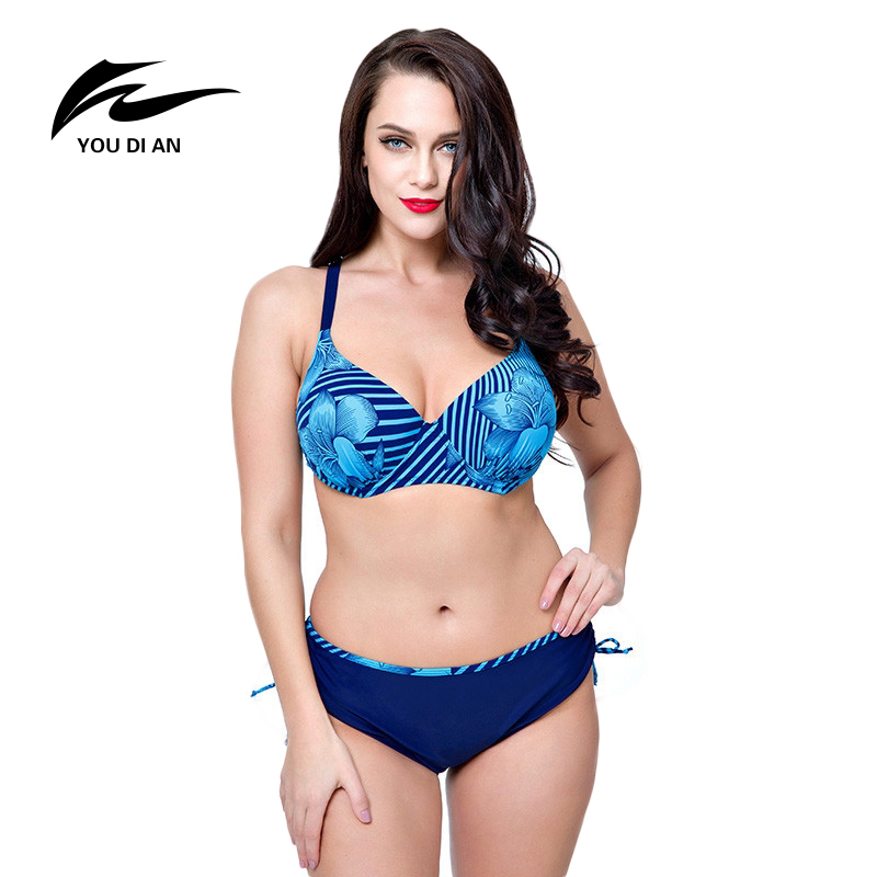 YOUDIAN 2017 New Arrival Blue Navy Blue Yellow Swimsuits Floral Print Plus Size Biquini Sets Big Bust Maillot De Bain For Women michael kors new navy blue women s size xs studded hi low crewneck sweater $130