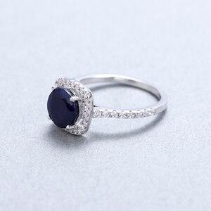 Image 4 - Mücevher bale 2.57Ct doğal mavi safir 925 ayar gümüş yüzük güzel takı taş düğün nişan yüzüğü kadınlar için