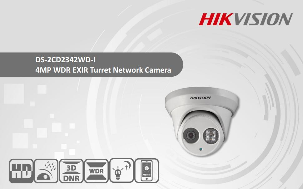 Free Shipping HIKVISION Security IP Camera 4MP WDR EXIR Turret Network Camera DS-2CD2342WD-I