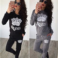 2PC Womens New Sportswear Casual Tracksuit Long Sleeve hoodies Sweatshirts Pants