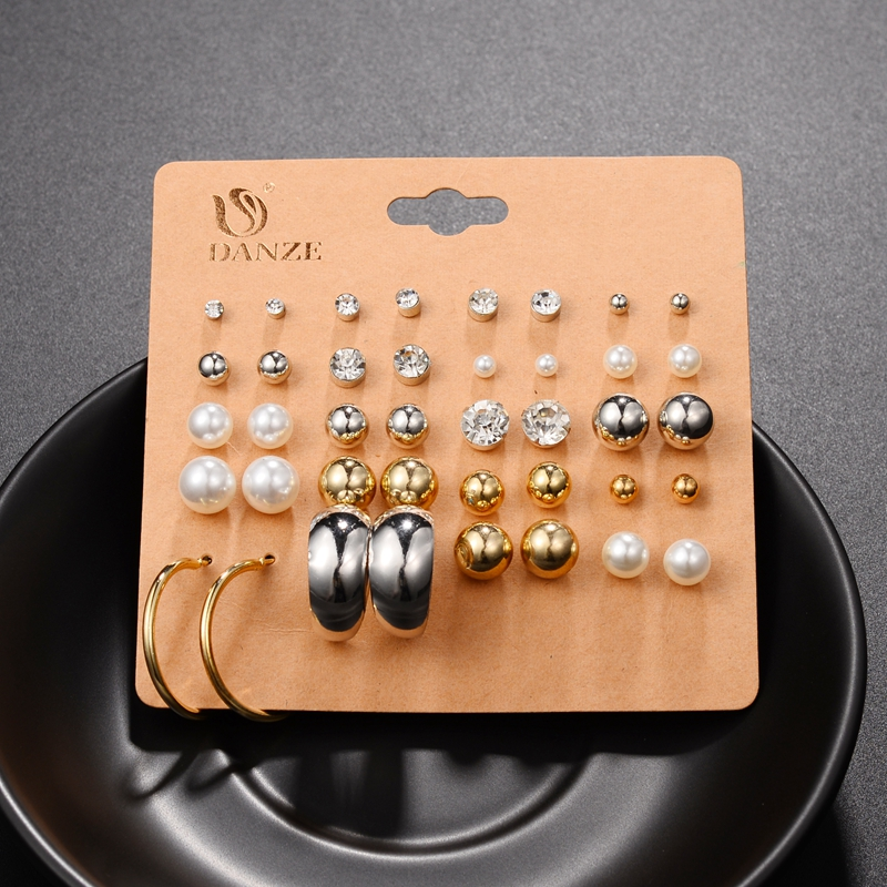 DANZE Punk Pairs Pack Set Brincos Mixed Stud Earrings For Women Crystal Ear Studs Fashion Simulated Pearl Jewelry Wholesale 54