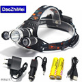 2018 1*T6+2*R2 8000LM LED Headlight Headlamp Bike Lamp Outdoor Rechargeable Hunting Light +2* 18650 Battery+Charger+Car Charger