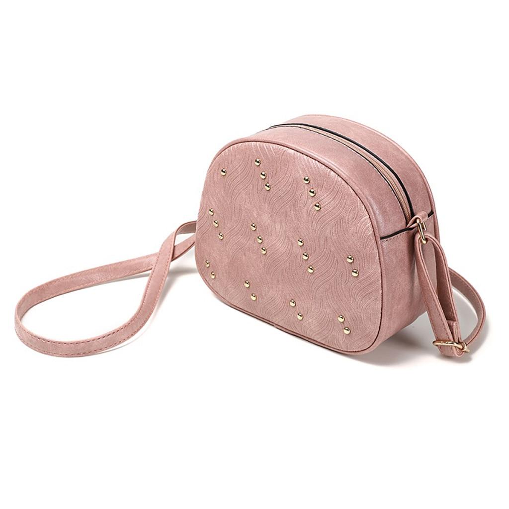 Solid Zipper Handbags Designer Women Rivet Small Round Bag Messenger Crossbody Shoulder Bag APR24