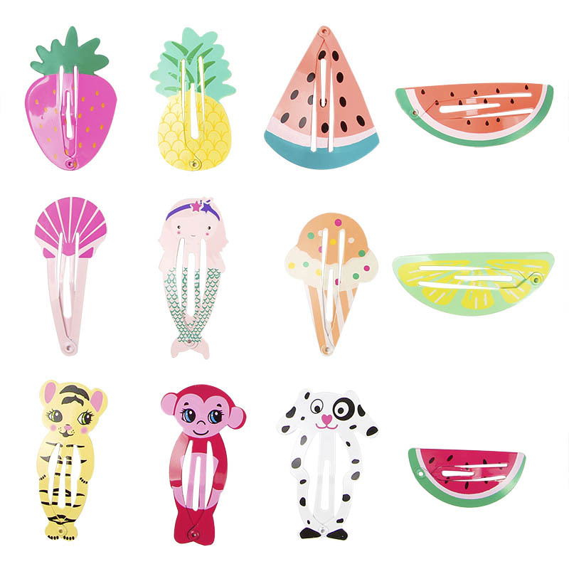 6PCS/lot Baby Girls Cute Cartoon Animal Fruit Hair Pins Kids BB Hair Clip Children Barrette Hairpin Accessories Birthday Gift