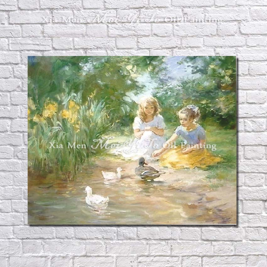 Free Shipping High Quality 100% Handmade no Frame Oil Painting on Canvas Wall Pictures for Living Room Decor Children Pictures