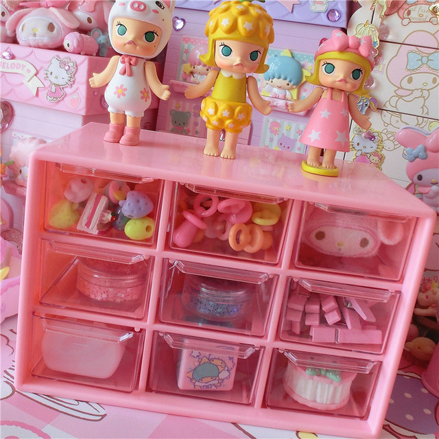Kawaii Pink Transparent Plaid Storage Box Plastic Beads Box Storage Box  Accessories Plaid Doll Accessories Box
