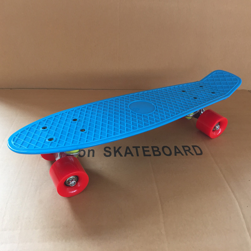 """Image 4 - Pastel Simple Color 22"""" Style Skateboard Child Cruiser Mini Plastic Fish Skate Board With Green Wheels-in Skate Board from Sports & Entertainment"""