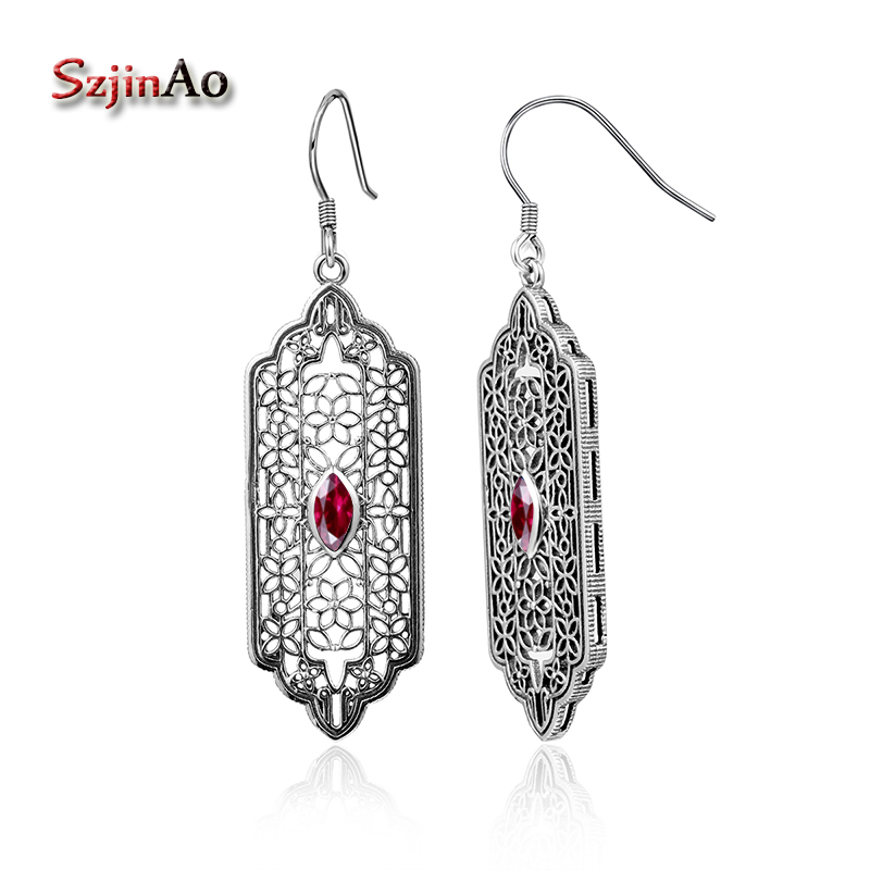 Szjinao European Classical Female Vintage Jewelry Fashion 925 Sterling Silver Earrings Hollow Out Garnet Long EarringsSzjinao European Classical Female Vintage Jewelry Fashion 925 Sterling Silver Earrings Hollow Out Garnet Long Earrings