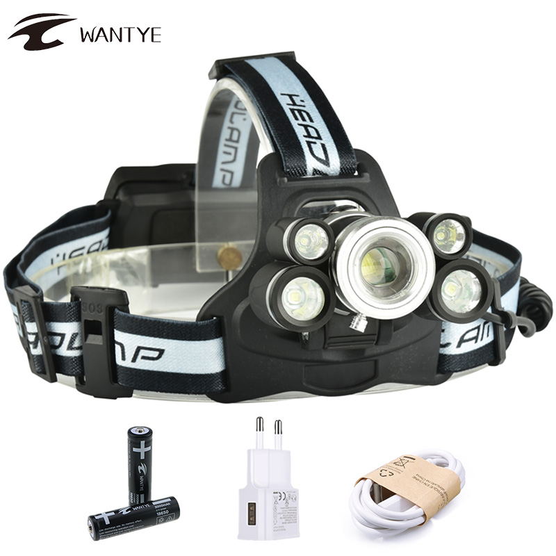 USB Rechargeable LED Headlamp Headlight 15000LM 3T6+2XPE Zoom Head Lamp Powerful Head Torch 5 Mode 18650 Head Light For Fishing 3 xml t6 2 blue light led headlamp 15000lm usb rechargerable led headlight head lamp 5 mode head torch for fishing lantern light