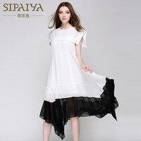 Brand Elegant New Irregular Pleated Black White Dress Loose Cloak Sleeves Ruffles Sleeveless Dresses For Women