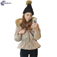 TNLNZHYN 2017 New Winter Large size Women Coat Warm Large Fur Collar Cotton Jacket Thicken Hooded Women clothing clothes AK343