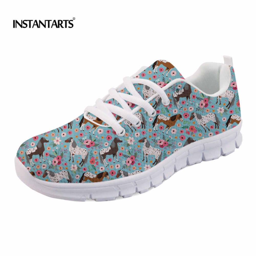 INSTANTARTS Casual Teen Girls Flats Shoes Appaloosa Horse Flower Pattern Women Lace-up Sneakers Fashion Comfort Mesh Flat Shoes instantarts fashion women flats cute cartoon dental equipment pattern pink sneakers woman breathable comfortable mesh flat shoes